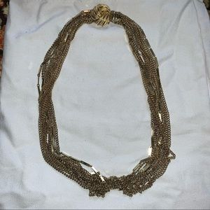 Vintage Gold-Tone Multi Chain Necklace